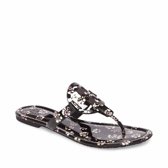 20808b0d38ae1 Tory Burch Printed Patent Leather Miller Sandals